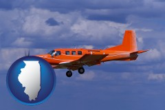 illinois a red turboprop aircraft flying in a blue sky with cumulus clouds