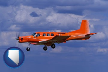 a red turboprop aircraft flying in a blue sky with cumulus clouds - with Nevada icon